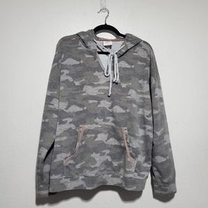 Knox Rose Gray Camo Hoodie Pullover Sweater Womens XL Polyester Cotton Rayon